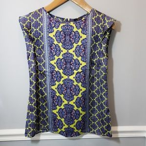 NWT The Limited Purple & Yellow Paisley Print Top